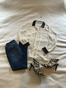 Ivory silk button down with faux leather accents, cropped skinny jeans, leopard print heels with gold studs