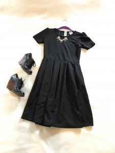 Black LuLaRoe Amelia dress, black wedge shooties