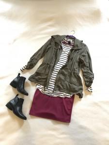 Olive jacket, white and black striped tee, burgundy LuLaRoe Cassie pencil skirt, black booties