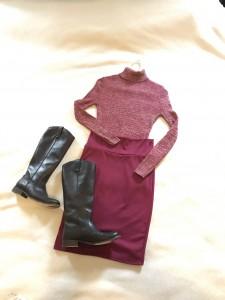 Vintage burgundy turtle neck, burgundy LulaRoe Cassie pencil skirt, brown leather boots