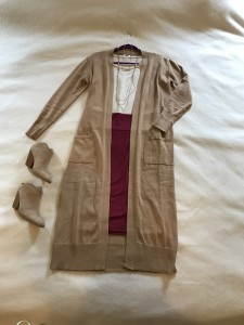 Camel duster cardigan, beige t-shirt, burgundy LuLaRoe Cassie pencil skirt, camel mule heeled booties