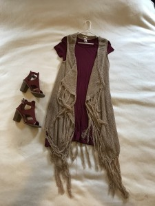 Burgundy t-shirt dress, camel fringed vest, burgundy sandals