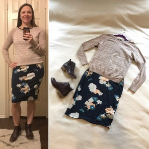 Camel and ivory patterned sweater over floral LuLaRoe Julia dress and brown perforated booties
