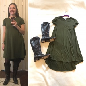 Olive LuLaRoe Carly dress, brown tight, brown leather boots