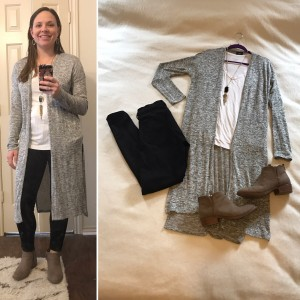 Gray duster cardigan, white v-neck tee, black skinny jeans, taupe booties