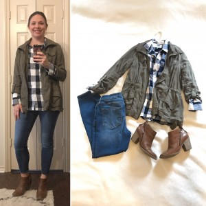 Olive jacket, blue and white checked flannel shirt, cropped skinny jeans, brown heeled booties