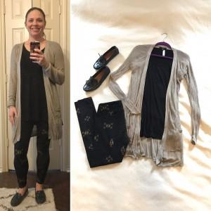 Beige cardigan, black LuLaRoe perfect Tee, LuLaRoe leggings, black driving moccasins