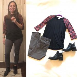 LuLaRoe Randy Tee, gray skinny cropped pants, black booties