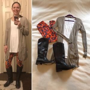 Beige cardigan, white LuLaroe Perfect Tee, Fox print LuLaRoe leggings, brown leather boots