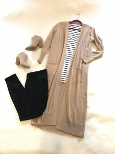 Camel duster cardigan, black and white striped tee, cropped black pants, camel mule, heeled booties