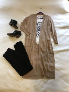 Camel duster cardigan, graphic t-shirt, black skinny jeans, black booties