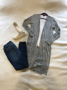 Gray duster cardigan, white v-neck tee, cropped skinny jeans, white slip ons