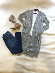 Gray duster cardigan, white v-neck tee, cropped skinny jeans, camel mule heeled booties