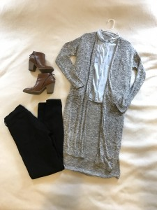 Gray duster cardigan, chambray button down, black skinny jeans, brown booties with zippers