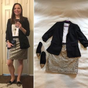 Christmas Eve Service - 3/4 sleeve black blazer, white v-neck tee, gold sequin skirt, gold capped black flats