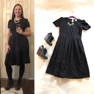 To the Nutcracker - Black LuLaRoe Amelia dress, statement necklace, tights, black shootie wedges