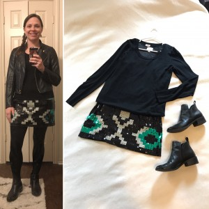 Women's Ministry Christmas Event - cropped faux leather jacket, black sweater over sequin mini dress, tights, and black booties