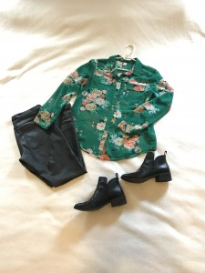 Green floral silk button down, faux leather leggings, black booties