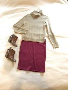 Vintage camel cowl neck sweater, burgundy LuLaRoe Cassie pencil skirt, brown heeled booties