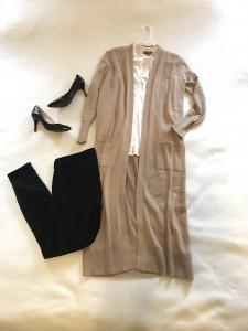 Camel duster cardigan, Ivory button down shirt, cropped black pants, black high heels