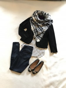 Black velvet blazer, White with black stripes long sleeve tee, skinny jeans, blanket scarf, black flats