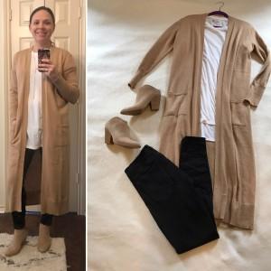 Camel duster cardigan, White LuLaRoe Patrick Tee, Cuffed black skinny jeans, Taupe mule booties
