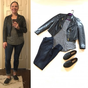 Faux leather cropped jacket, long sleeve gray t-shirt, cuffed skinny jeans, black slip ons