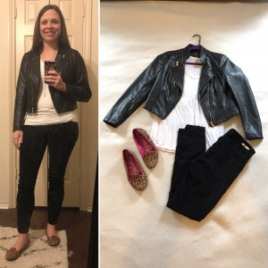 Faux leather cropped jacket, white v-neck t-shirt, ankle length black velvet skinny pants, leopard print flats