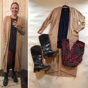 Camel duster cardigan, Navy LulaRoe Patrick Tee, LuLaRoe Leggings, Knee high brown leather boots