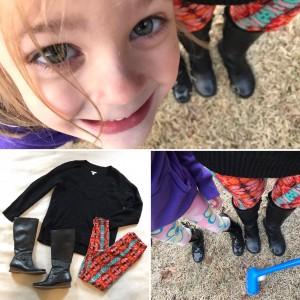 Perfect Maggie photobomb, deep v-neck black sweater, LuLaRoe Leggings, black knee high leather boots