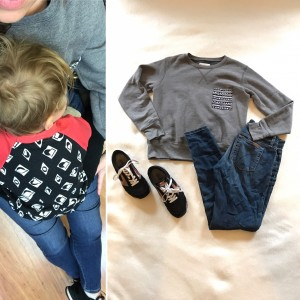 Cozy for a pediatrician visit - Krochet Kids gray sweatshirt, skinny jeans, black Brooks Chariot sneakers